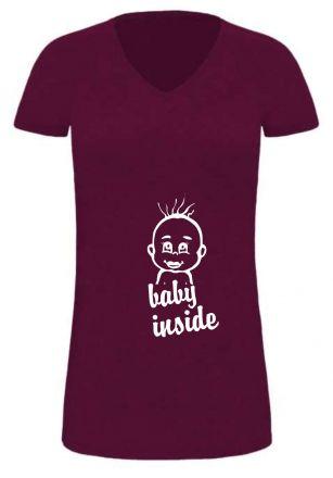 Lady LONG T-Shirt für Schwangere Baby inside + Babykopf