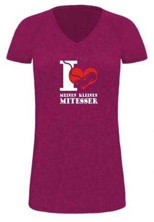 Lady LONG T-Shirt für Schwangere I love meinen kleinen Mitesser