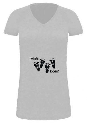 Lady LONG T-Shirt für Schwangere Whats kickin double