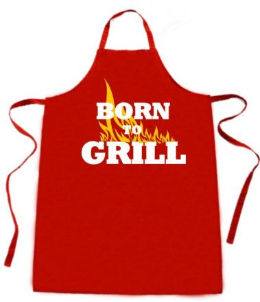 Latzschürze mit Druck Born to grill