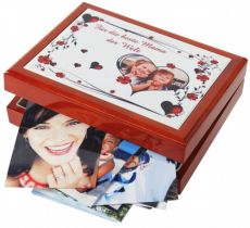 Keepsake box red/brown, size 180 x 230 x 60 mm