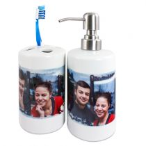 Set of ceramic soap dispenser and toothbrush holder, size Ø 75mm