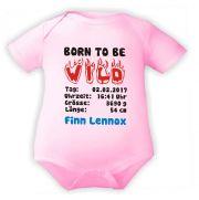 Baby Body mit Druck Born to be Wild und Geburtsdaten