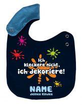 größenverstellbares Baby Lätzchen Ich kleckere nicht und Namen des Kindes