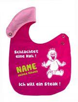 größenverstellbares Baby Lätzchen Ich will ein Steak und Namen des Babys