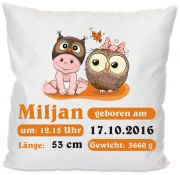 Cushion cover 40 x 40 cm Motif Little Fratz & Friends (Owl) with dates of birth