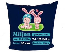 Kissen 40x40 cm Kleiner Fratz & Friends Hase mit Geburtsdaten