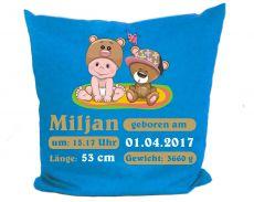 Kissen 40x40 cm Kleiner Fratz & Friends Teddy mit Geburtsdaten