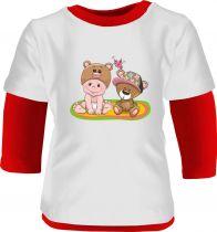 2-er Set Baby Body Multicolor langarm und Baby Beanie mit Ankermotiv