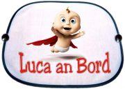 Sonnenblende Motiv Fliegendes Baby und dem Namen des Babys