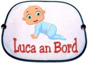 Sonnenblende Motiv Baby Junge in blau mit Namen des Babys
