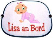 Sonnenblende Motiv Baby Mädchen in rosa mit Namen des Babys