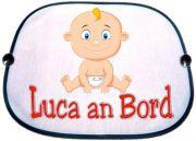Sonnenblende Motiv Baby blonde Locke und Namen des Babys