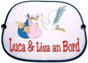 Sonnenblende Motiv Storch mit Zwillingen und den Namen der Babys