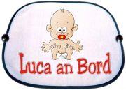 Sonnenblende Motiv Baby roter Nuckel und Namen des Babys