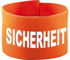 adjustable Velcro armband with SICHERHEIT / 10 cm height