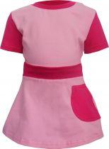 Baby / Kinder Tunika Kleid mit Bund und aufgesetzter Rocktasche multicolor SYLVIA / rosa-pink