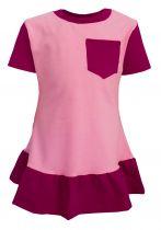 Baby / Kinder Longshirt Kleid mit Rüsche und Brusttasche multicolor YVONNE / rosa-pink