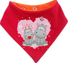 Baby Wende-Halstuch Multicolor Sweet Animal Paar Nilpferd