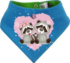 Baby Wende-Halstuch Multicolor Sweet Animal Paar Waschbär