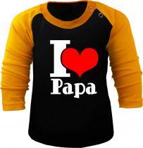 Baby und Kinder Baseball Langarm Shirt - I love Papa