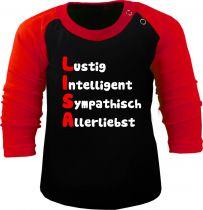 Baby und Kinder Baseball Langarm Shirt - mit Namen und Eigenschaften des Kindes