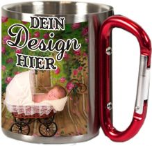 Stainless steel mug with snap hook