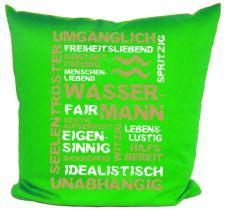 Kissen 40 x 40 cm Baumwolle mit Sternzeichen Wassermann