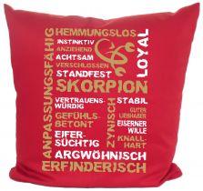 Kissen 40 x 40 cm Baumwolle mit Sternzeichen Skorpion