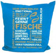 Kissen 40 x 40 cm Baumwolle mit Sternzeichen Fische