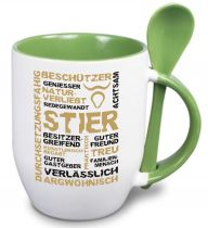Ceramic mug TWO TONES & spoon with star sign Stier