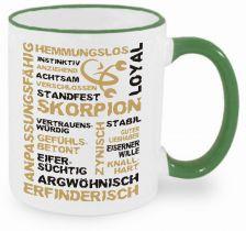 Keramiktasse RIM & HANDLE (farbiger Rand + Henkel) mit Sternzeichen Skorpion
