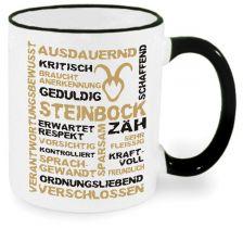 Keramiktasse RIM & HANDLE (farbiger Rand + Henkel) mit Sternzeichen Steinbock