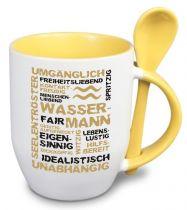 Keramiktasse TWO TONES & Löffel mit Sternzeichen Wassermann