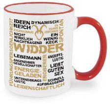 Keramiktasse RIM & HANDLE (farbiger Rand + Henkel) mit Sternzeichen Widder