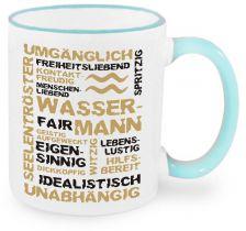 Keramiktasse RIM & HANDLE (farbiger Rand + Henkel) mit Sternzeichen Wassermann