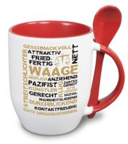 Ceramic mug TWO TONES & spoon with star sign Waage