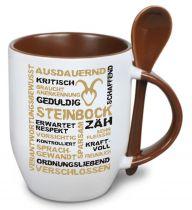 Keramiktasse TWO TONES & Löffel mit Sternzeichen Steinbock