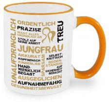 Keramiktasse RIM & HANDLE (farbiger Rand + Henkel) mit Sternzeichen Jungfrau