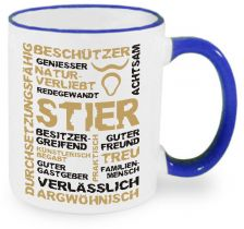 Ceramic mug RIM & HANDLE (colored rim + handle) with star sign Stier