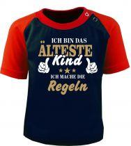 Baby und Kinder Kurzarm Baseball T-Shirt -  Ich bin das Älteste Kind -