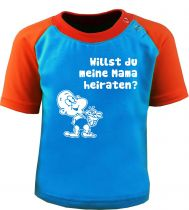 Baby und Kinder Kurzarm Baseball T-Shirt -  Willst du meine Mama heiraten -