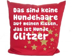 Cushion 40 x 40 cm cotton / colored with motif HUNDE GLITZER and the name of the animal
