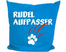 Cushion 40 x 40 cm cotton / colored with motif Rudelaufpasser and the name of the animal