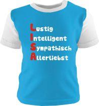 Baby und Kinder Shirt kurzarm Multicolor mit Namen und Eigenschaften des Kindes