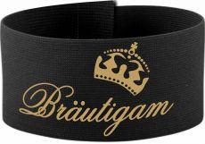 größenverstellbare Klett-Armbinde 10 cm Höhe mit Bräutigam / Krone