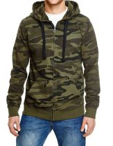 Full Zip Camouflage Kaputzen Fleece Jacke
