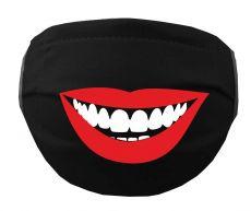 Mehrweg Stoff Mund & Gesichtsmaske mit Vlies / zum Binden / LÄCHELNDER MUND