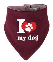 Tier Wende-Halstuch Multicolor mit I love my dog