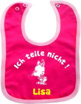 contrast Baby Bib Ich teile nicht and babies name